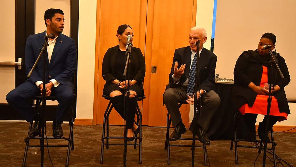 From left, panelists were Ammar Campa-Najjar, Judith Castro-Rangel, Ron Roberts and Tasha Williamson.
