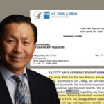A photo illustration of Dr. Kang Zhang, chief of eye genetics at the University of California San Diego, with parts of a warning letter and an inspection report from the FDA about his research.