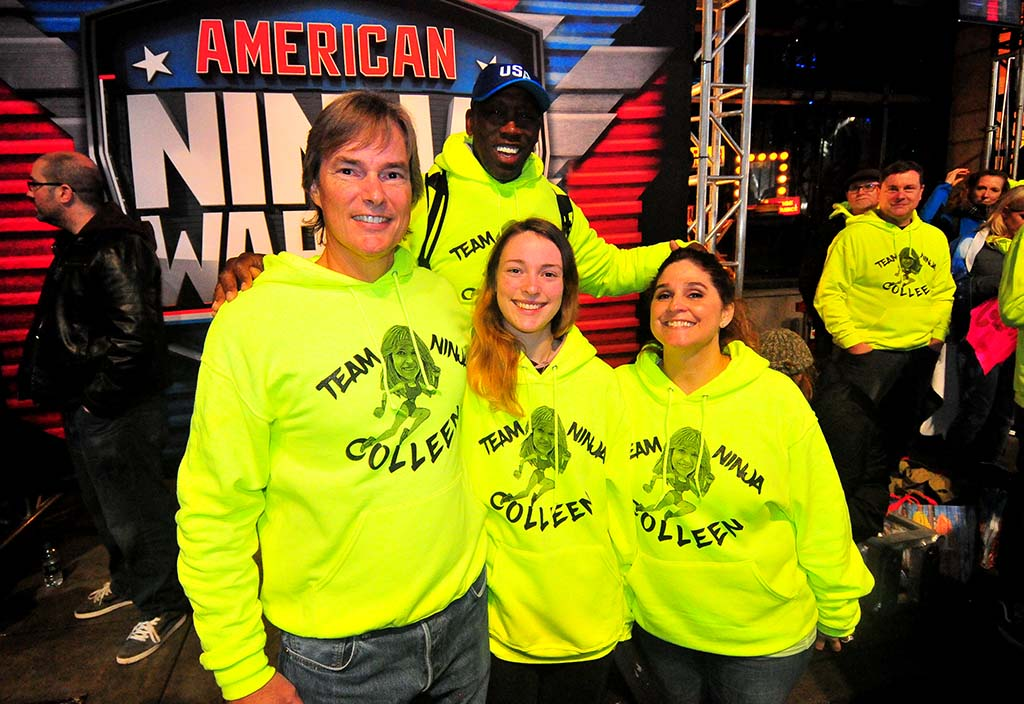 Olympic triple jump champion Al Joyner joined Colleen Barney's family members at the filming. Joyner is a Barney client