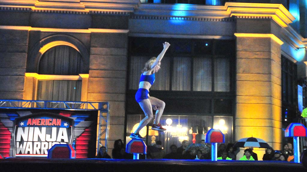 """Colleen Barney turns focus to the fourth step on the opening obstacle of """"American Ninja Warrior."""""""