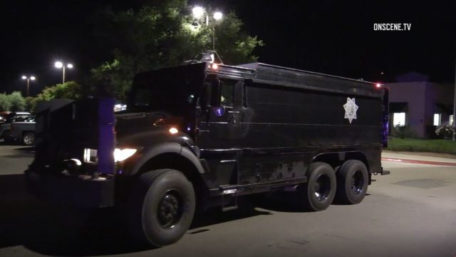 Armored vehicle at standoff