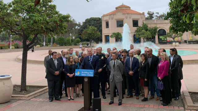 Mayor Faulconer and city officials gather in Balboa Park
