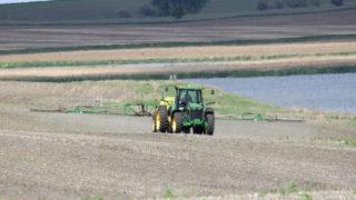 Herbicide spraying on a field