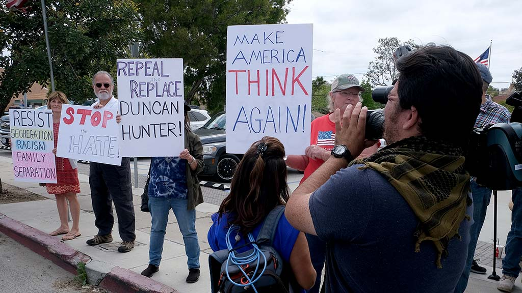 A TV crew got tape of the few anti-Hunter protesters at their Ramona event.