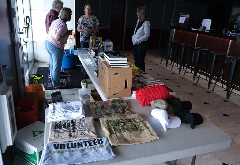 Inside the lobby of Ramona Mainstage, politically conservative items were for sale.