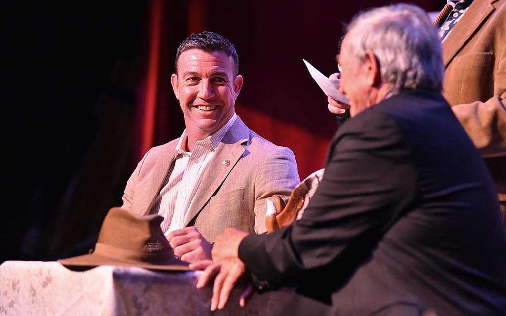 """Rep. Duncan L. Hunter, smiling at his father, would bid farewell to him with: """"Hey, you're a great American."""""""