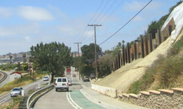 Reopened Jimmy Durante Boulevard at the site of the bluff collapse