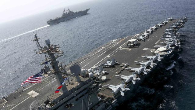 USS Abraham Lincoln and USS Kearsarge in the Arabian Sea