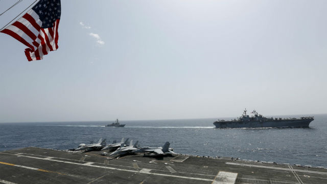 USS Abraham Lincoln and USS Kearsage in the Arabian Sea
