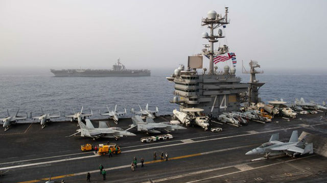 USS John C. Stennis and USS Abraham Lincoln in the Mediterranean Sea