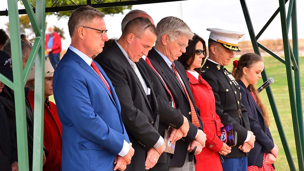 U.S. Rep. Scott Peters (left) was among those gathered to pay tribute to fallen military members.