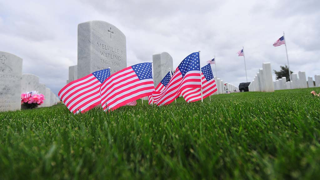 Flags and flowers decorated the graves at Miramar National Cemetery for Memorial Day.