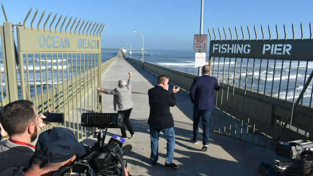 City Councilmember Jennifer Campbell andMayor Kevin Faulconer leads reopening of Ocean Beach Pier