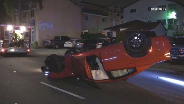 Overturned Dodge Charger
