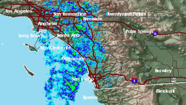 Radar image shows rain approaching San Diego