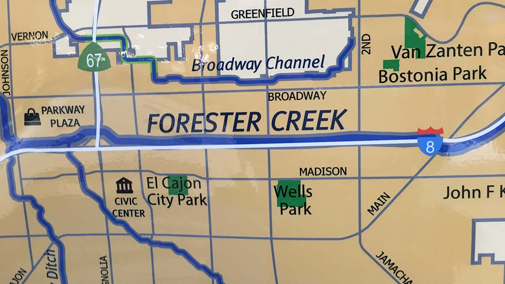 Forester Creek, one of the waterways of concern, runs adjacent to Parkway Plaza in El Cajon.