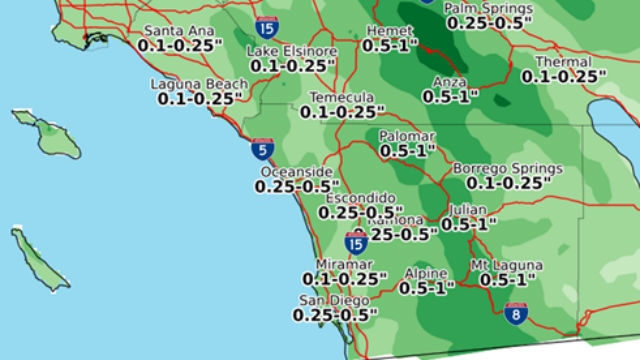 Weekend rainfall forecast
