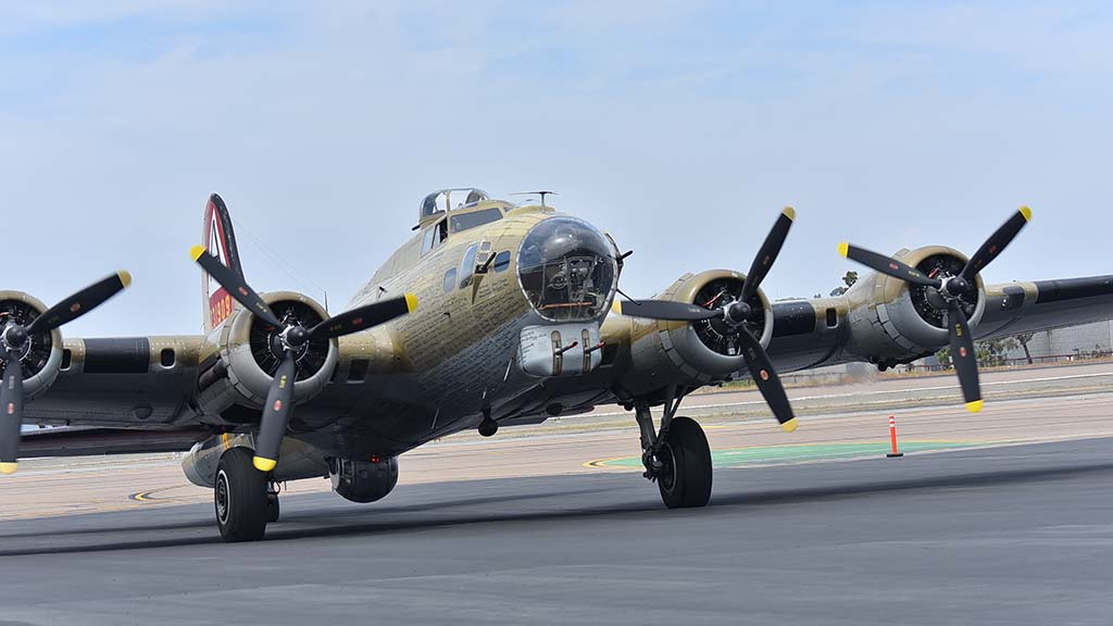 A B-17 Flying Fortress taxis to the display area at McClellan-Palomar Airport, where it can be toured through Sunday.