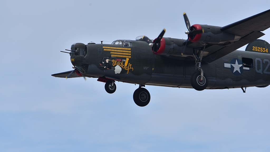 """A B-24 Liberator 'Witchcraft"""" landed at McClellan-Palomar Airport for a weekend display."""