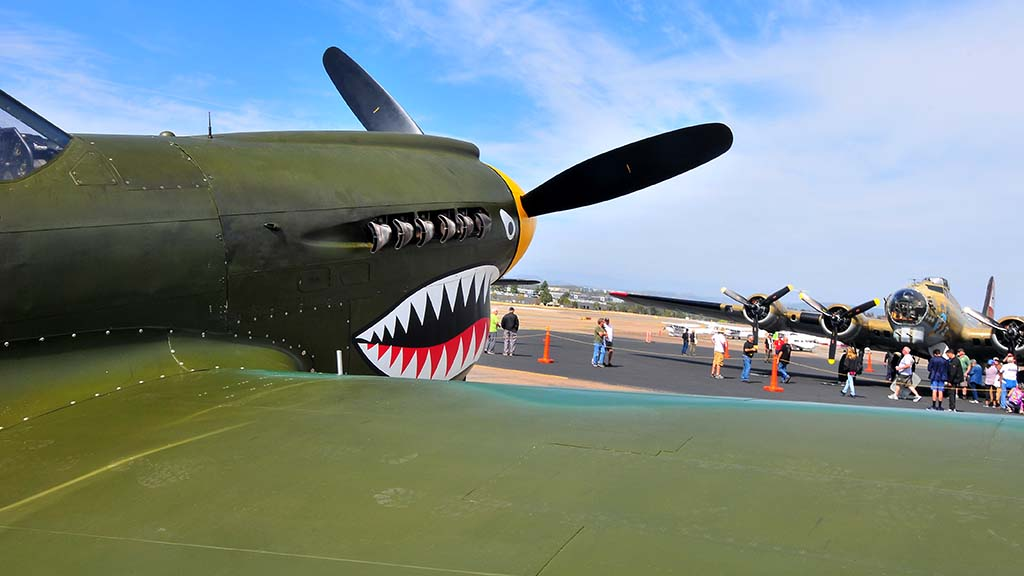 The P-40 Warhawk is one of the vintage planes they people can ride in over the weekend.