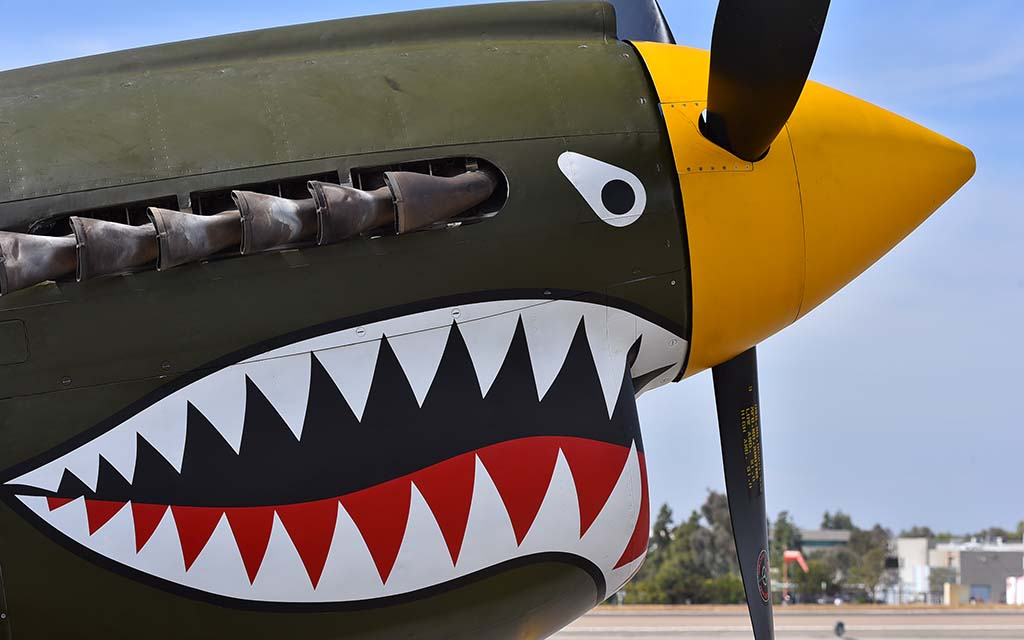 The P-40 Warhawk by Curtiss Buffalo was delivered to the Royal Canadian Air Force during Worl War II and is on display at McClellan-Palomar Airport.
