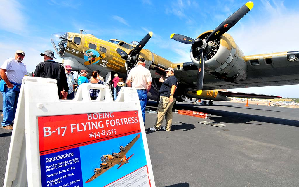 The Boeing B-17 Flying Fortress is one of five World War II airplanes on exhibit at the McClellan-Palomar Airport in Carlsbad.