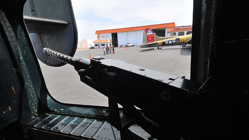"""Swiveling single guns were positioned on both sides of the B-24 Liberator """"Witchcraft."""""""