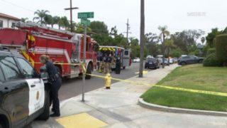Emergency vehicles at street corner