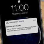 Earthquake warning test message