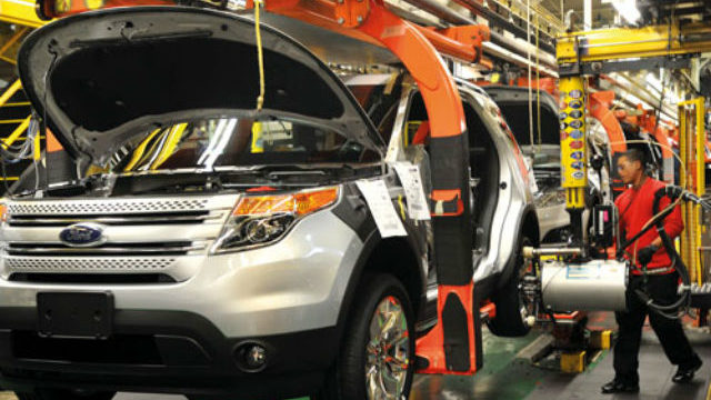 A Ford SUV on the assembly line in Mexico
