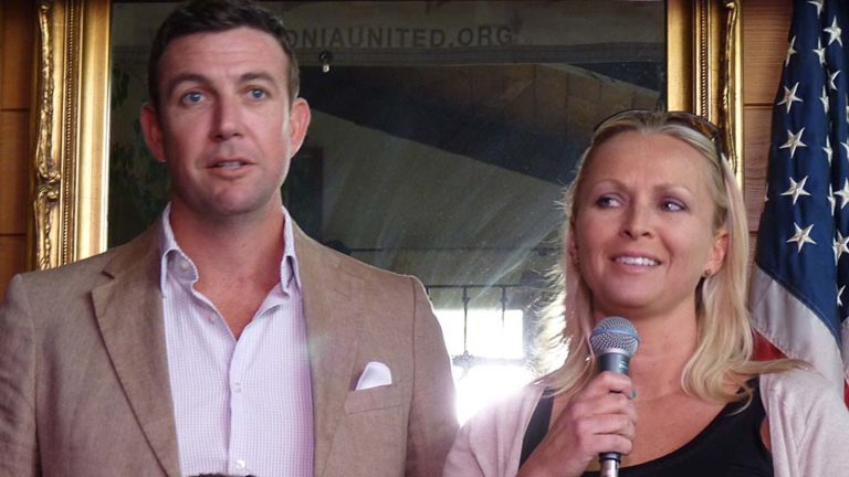 "Rep. Duncan D. Hunter and his wife, Margaret, are seen in La Mesa at 2014 Polonia United event for Polish-Americans in the San Diego region. Margaret is the oldest daughter of Steve and Miroslawa Jankowski, a couple who moved their two daughters to America in the late 1980s, escaping ""the bleak landscape of communist Poland,"" according to Steve Jankowski's 2010 obituary quoted by The San Diego Union-Tribune."