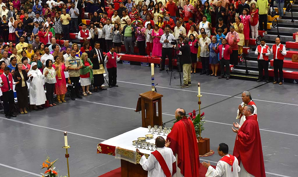 San Diego Bishop Robert McElroy celebrates a multicultural Mass at Cathedral Catholic High School attended by about 2,100 people.