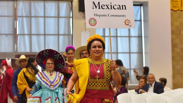 A large contingent of the Hispanic Catholic Community participated in the multicultural Mass.