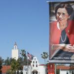 Banner for the inauguration of Adela de la Torre