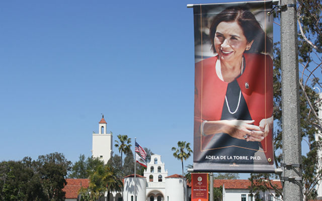 Banner for the inauguration of Adela de la Torre