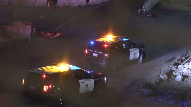 San Diego Police cruisers at the scene of the gun battle