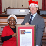 State Sen. Brian Jones with Tonya Hendrix of Santee Santas Foundation.