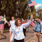 Susan Davis marches in a Memorial Day parade