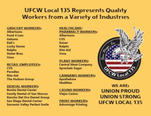 Graphic from San Diego-based UFCW Local 135 shows types of workers it represents.