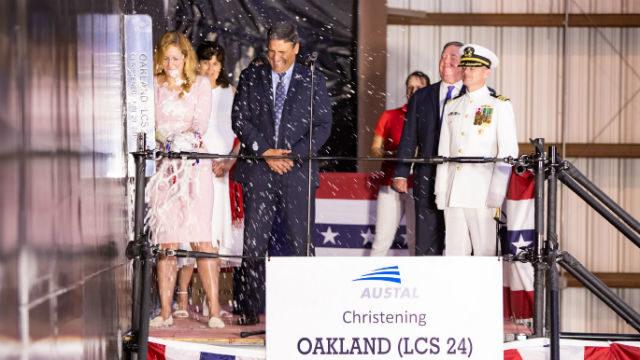 Kate Brandt christens future USS Oakland