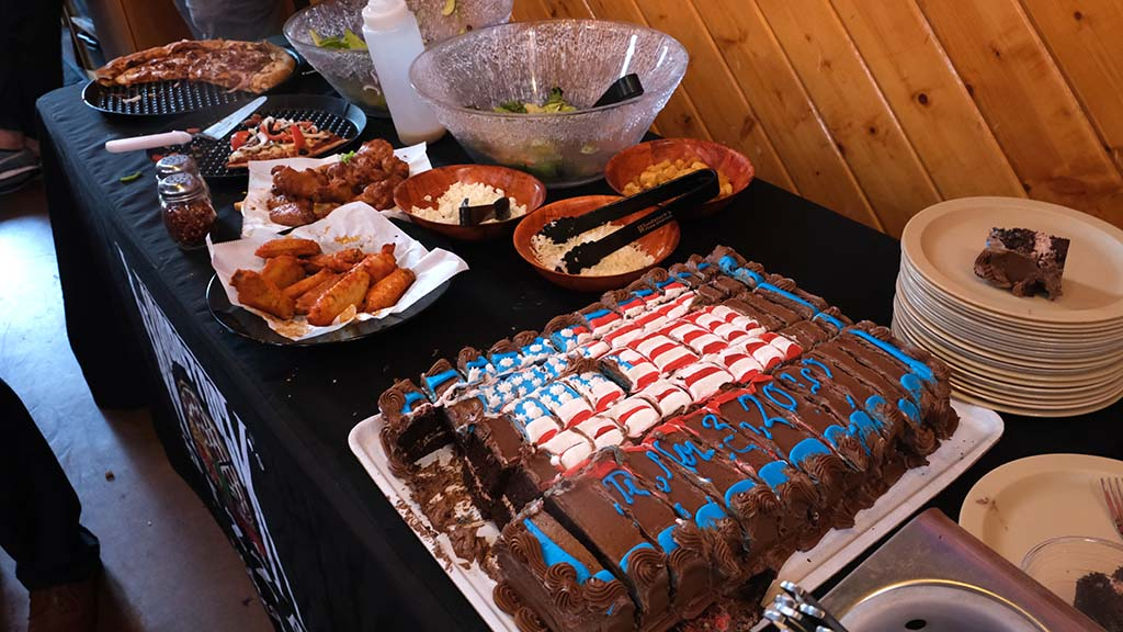 A flag cake was among the food at the watch party at Woodstock's Pizza in Pacific Beach.
