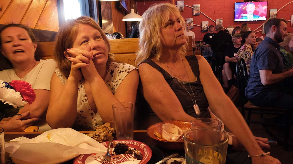From left, Uber driver Christine Moore, novelist sister Debbie Moore and friend Jennifer Douglas, a former TV news producer, kept up a lively chatter.