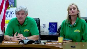 Fairgrounds CEO Tim Fennell and fair deputy general manager Katie Mueller at hastily called late-night press conference. Image via 10News.com