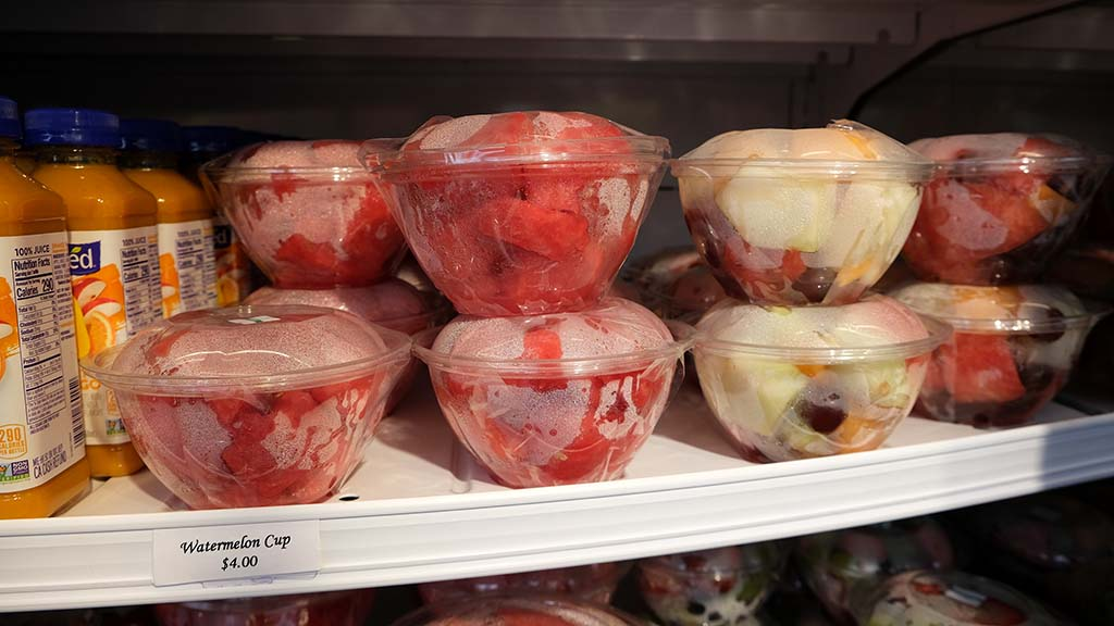 The Market by Vons/Albertsons by the Grandstands offers packaged bowls of fruit.