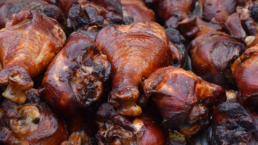 Turkey legs may look healthy, but can contain more than 1,000 calories.