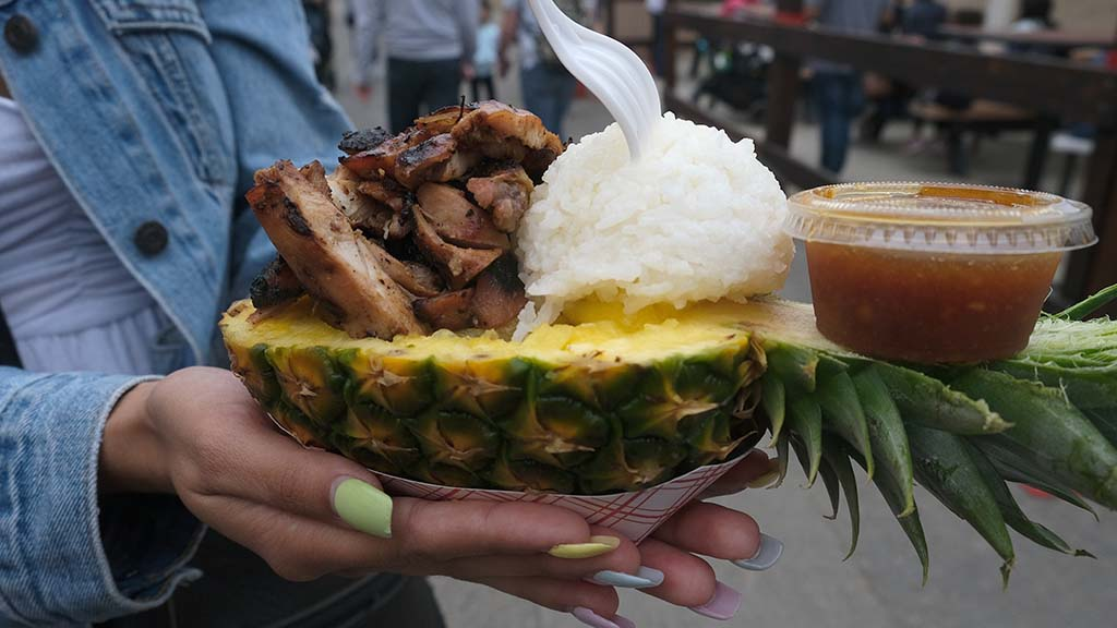 Chicken with rice and pineapple is one of the healthier options at Chicken Charlie's.