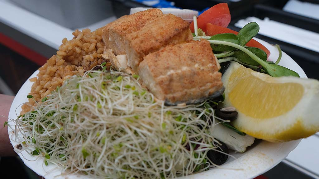 Salmon is one of the healthier items at Roxy's Restaurant booth near Bing Crosby Hall.