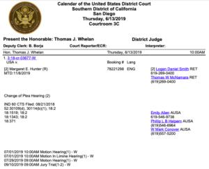 Image of Judge Thomas Whelan's court calendar indicating change of plea hearing for Margaret Hunter.