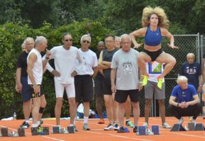 Colleen Barney performs her ritual pre-start hop before getting into the blocks at a recent Pasadena Senior Games.