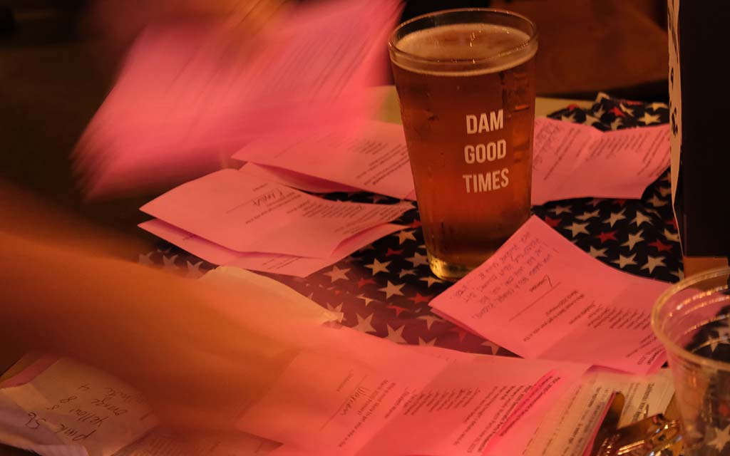 Straw ballots rest amid a brew while being sorted at Woodstock's Pizza in Pacific Beach, said to be owned by a Kennedy Democrat.
